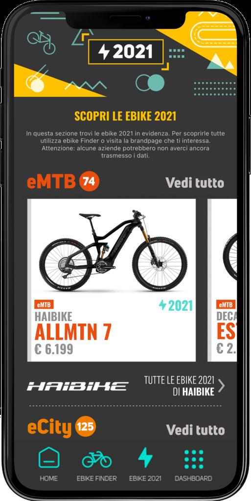 Una schermata di BiciLive App 2021