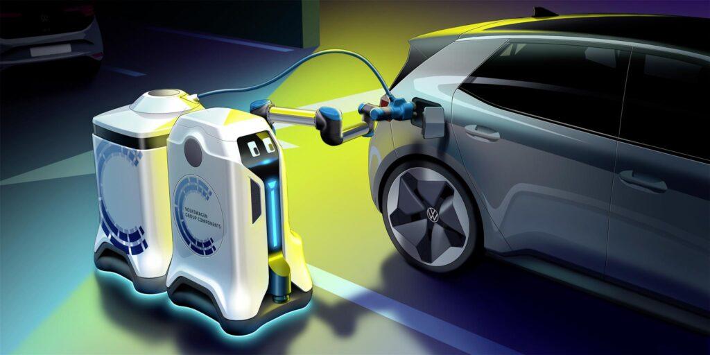 Uno schizzo dei concept per i robot mobili per la ricarica di Volkswagen