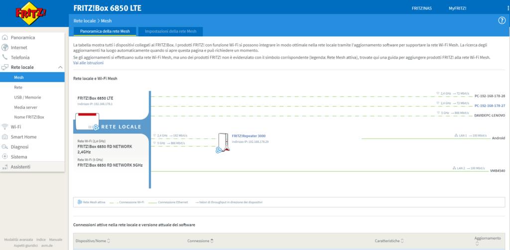 Una schermata del pannello web di gestione