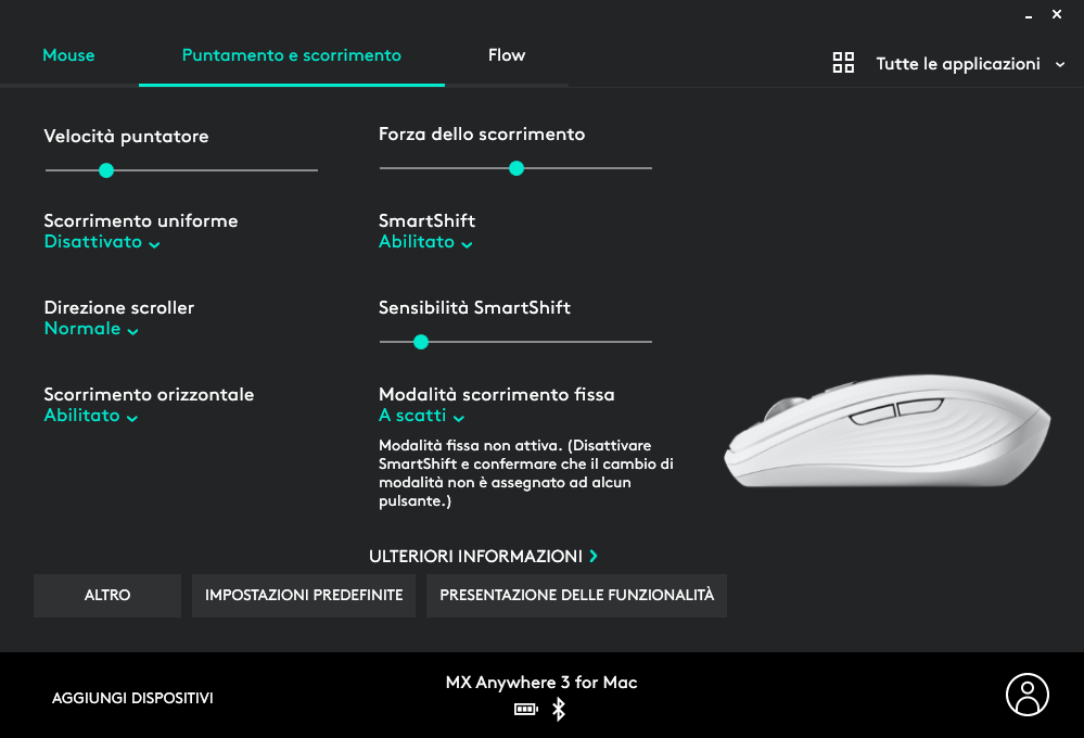 Una schermata di Logitech Options