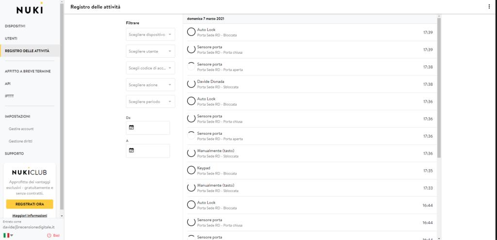 Una schermata di Nuki Web