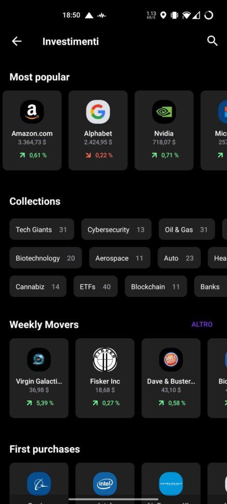 Sezione investimenti app Vivid Money