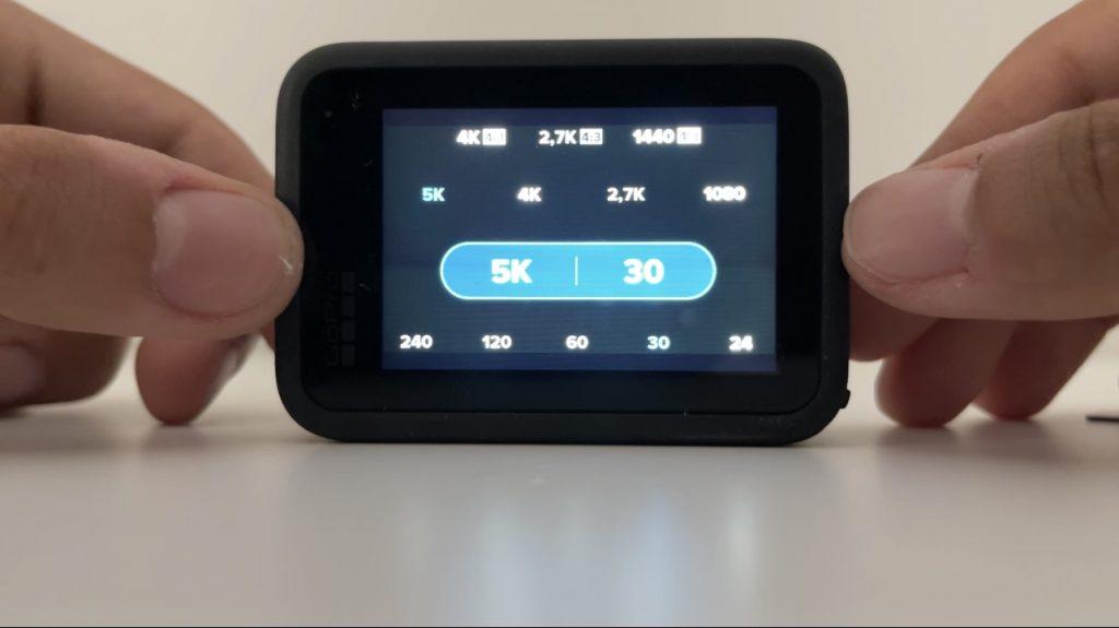 Una foto del sistema software dell'action cam